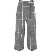 Jupe-culotte à carreaux gris avec ceinture