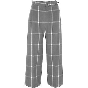 Grey window check belted culottes