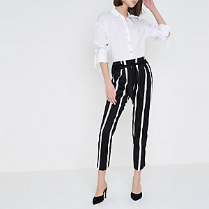 Black stripe print tie waist tapered trousers