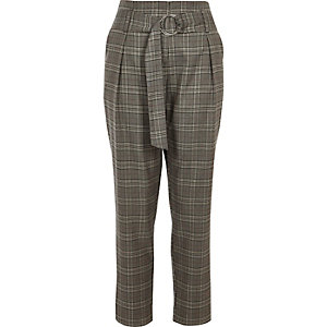 Grey check stripe side tapered trousers