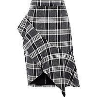 Navy check asymmetric frill pencil skirt