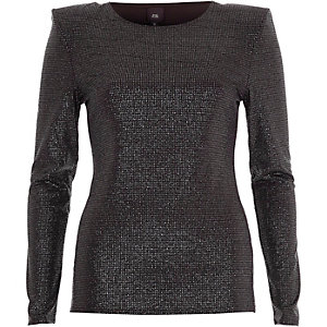 Black glitter shoulder pad fitted top