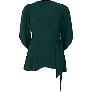 Green wrap tie side kimono sleeve top
