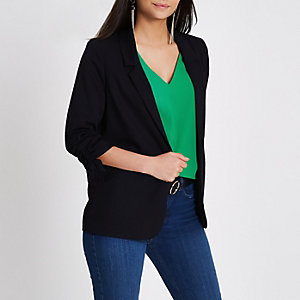 Black rouche sleeve blazer