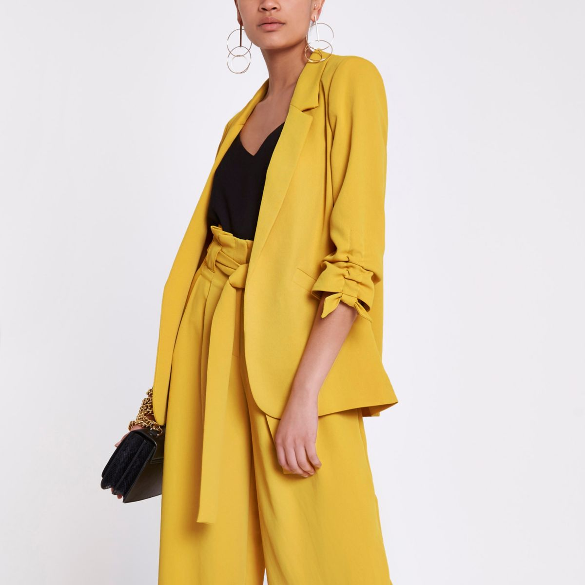 Yellow ruched three quarter sleeve blazer