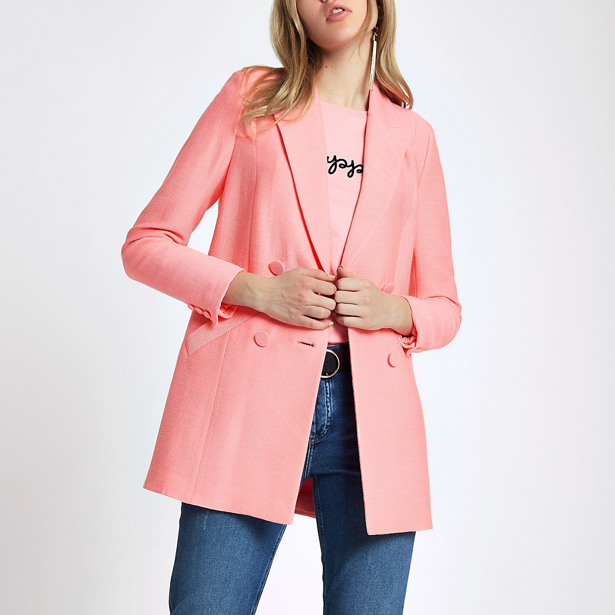 Pink textured double breasted blazer