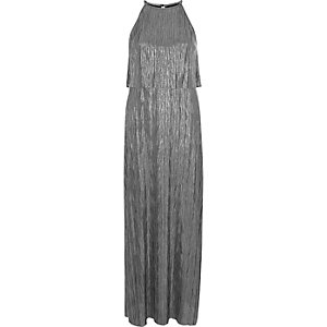 Silver pleated layered sleeveless maxi dress