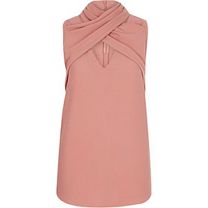 Light pink wrap neck sleeveless top