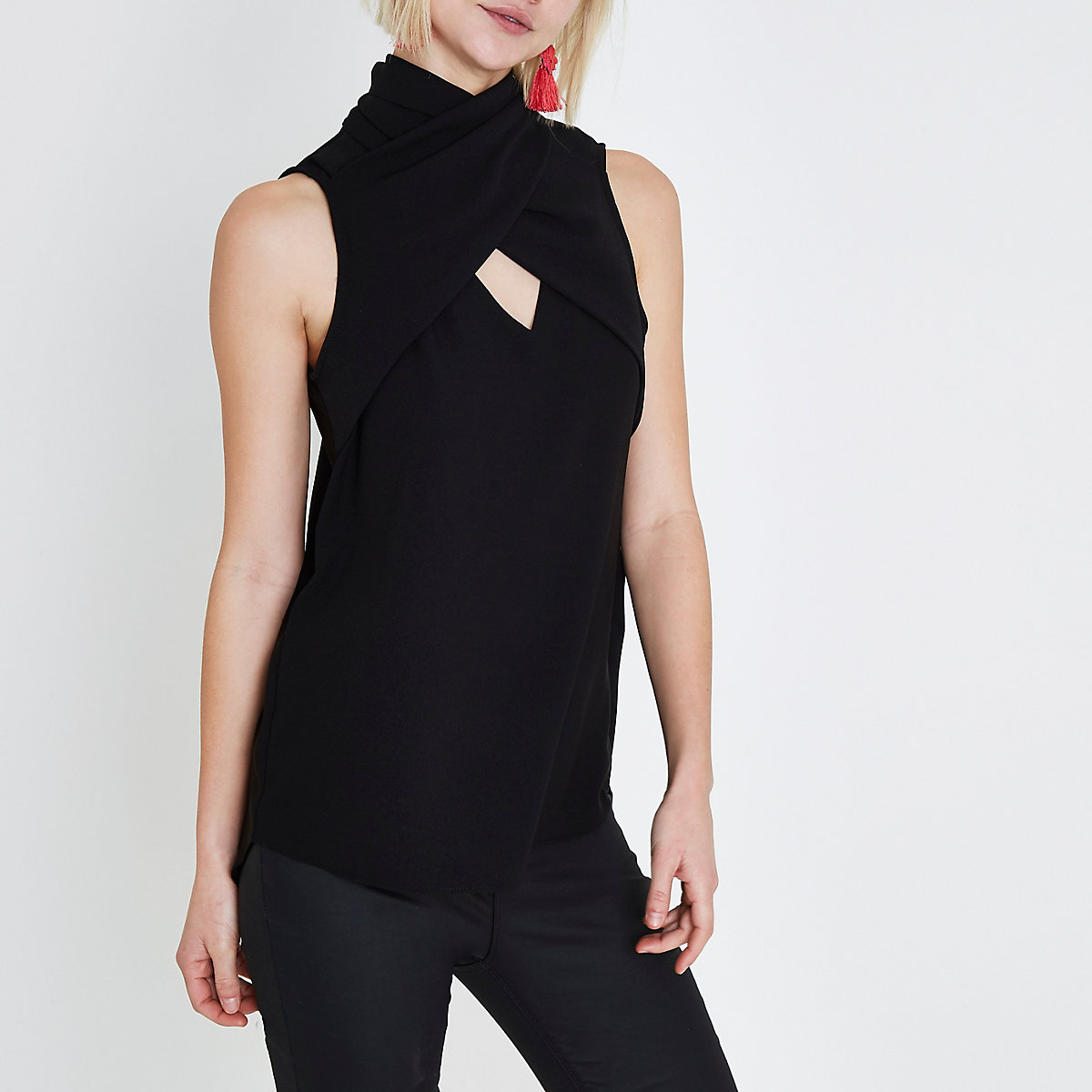 Black wrap neck sleeveless top