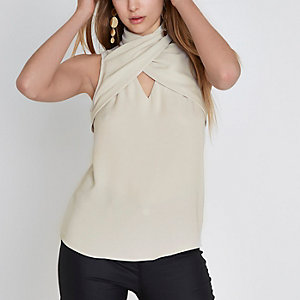 Cream wrap neck sleeveless top