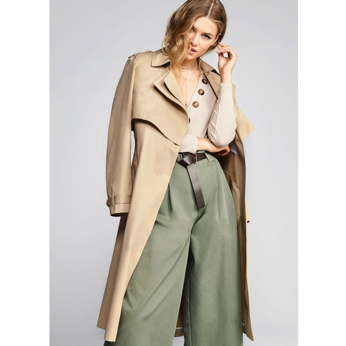 Camel Double Collar Long Trench Coat Coats Amp Jackets