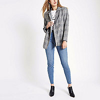 Grey check double breasted style blazer