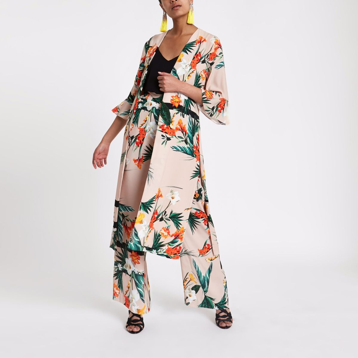 Light pink tropical print duster coat