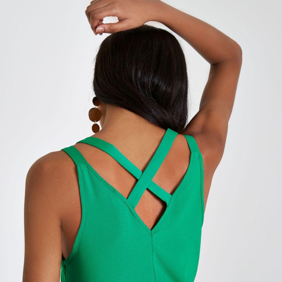 Bright green double strap cross back vest