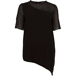 Black asymmetric hem sheer sleeve T-shirt