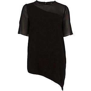T-shirt noir à ourlet asymétrique et manches transparentes
