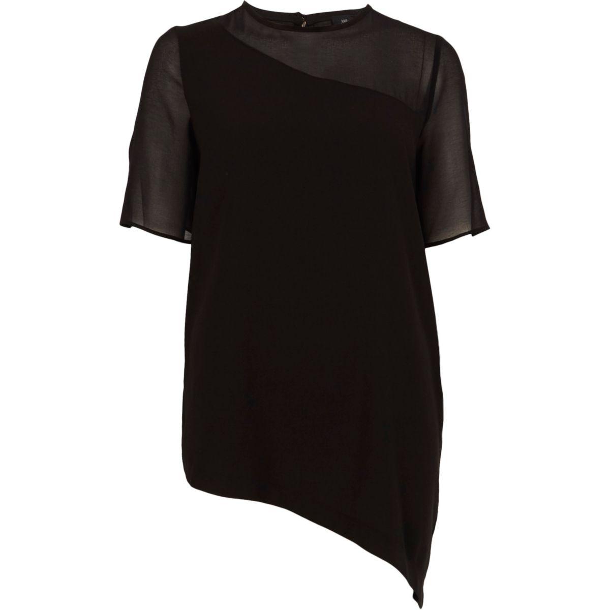 Zwart T-shirt met asymmetrische zoom en doorschijnende mouwen