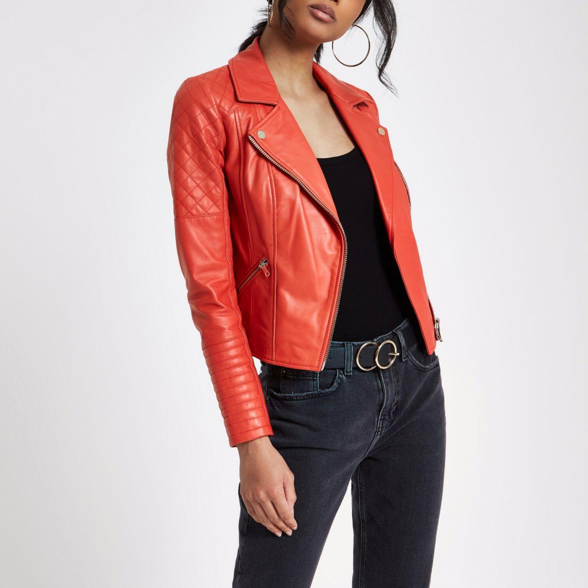 Red leather biker jacket