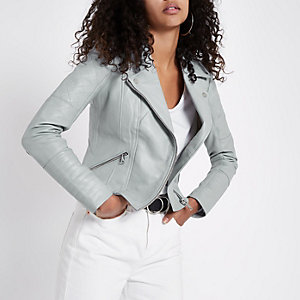 Light blue leather biker jacket