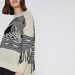 Cream and black print fringe sweater