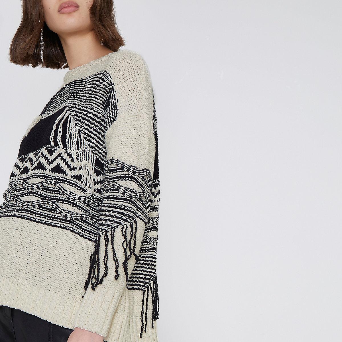 Cream and black print fringe sweater