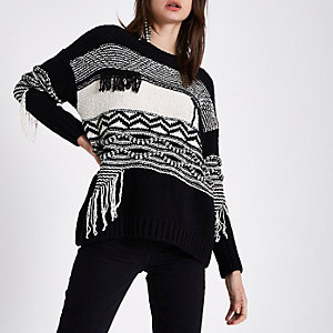 Black and cream mixed block stitch sweater