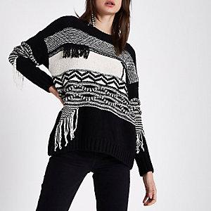 Zwart-crèmekleurige trui met gemengd blokpatroon