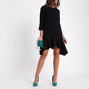 Black frill peplum hem swing dress