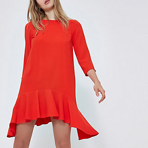 Red three quarter sleeve swing dress