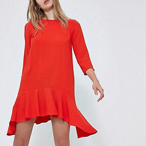 Red three quarter sleeve swing dress