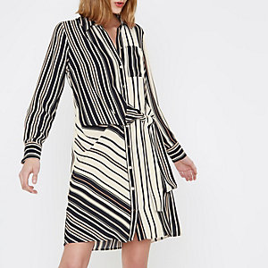 Cream stripe print tie front shirt dress