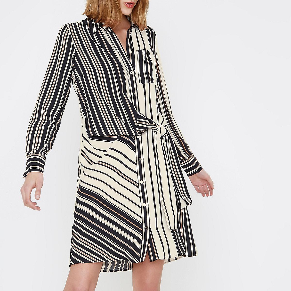 Cream stripe print tie front shirt dress