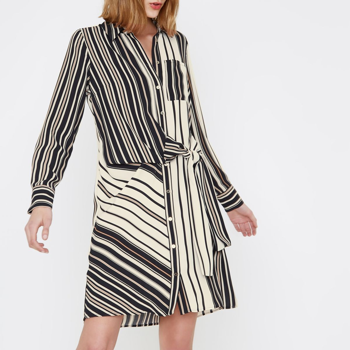 Blusenkleid in Creme mit Streifen und Bindeband