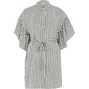 Black stripe cold shoulder frill shirt dress