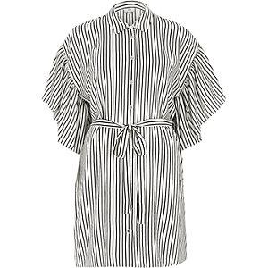 Black stripe cold shoulder frill shirt dress