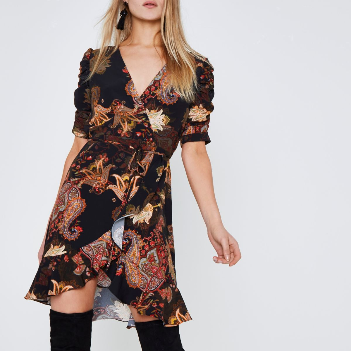 Black paisley print frill wrap dress