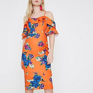 Robe moulante à fleurs orange à épaules dénudées