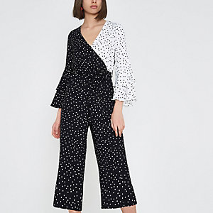 Black block polka dot frill culotte jumpsuit