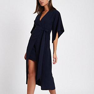 Navy wrap front kimono sleeve midi dress