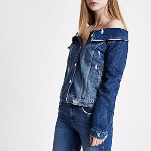 Mid blue ripped denim jacket