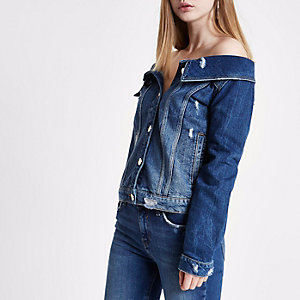 Mid blue ripped denim jacket