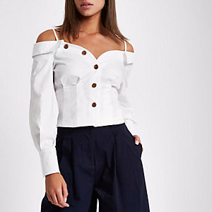 White cold shoulder deconstructed shirt