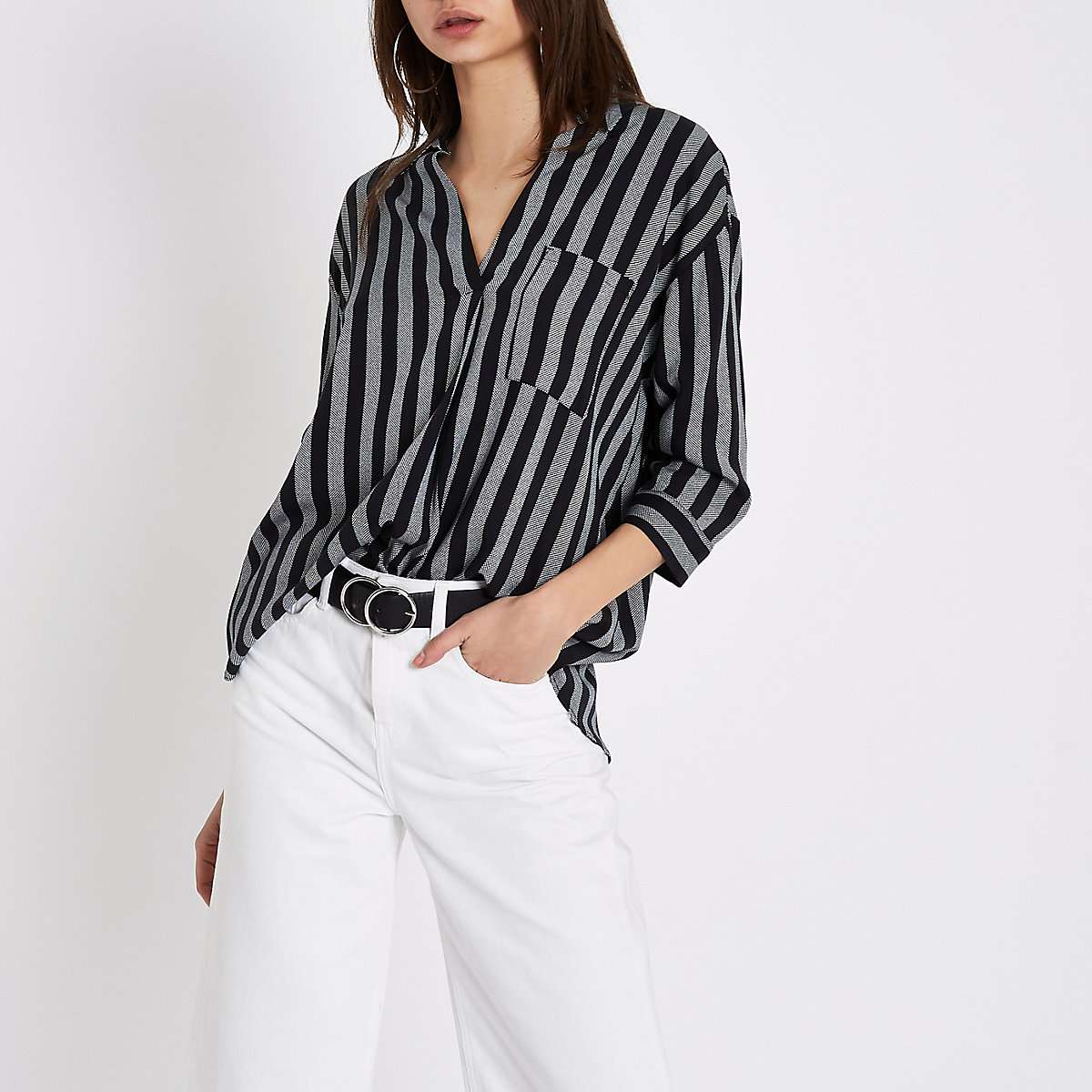 Black stripe cross back blouse
