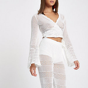 White crochet knit wrap flare sleeve top