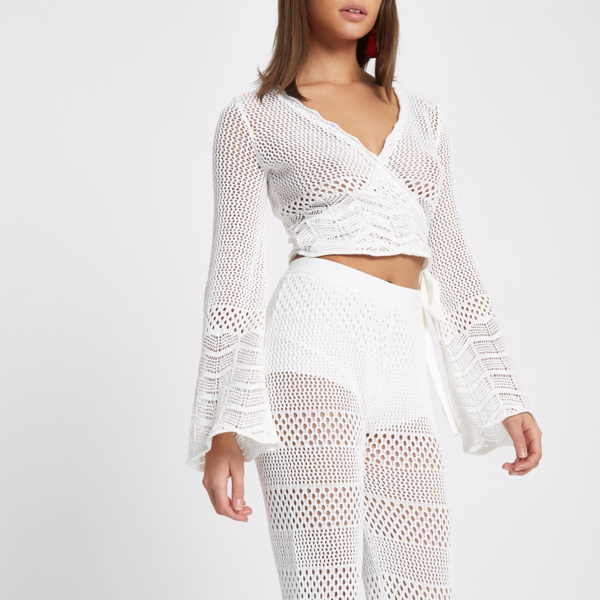White crochet knit wrap flare sleeve top