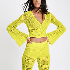 Yellow crochet knit wrap front crop top