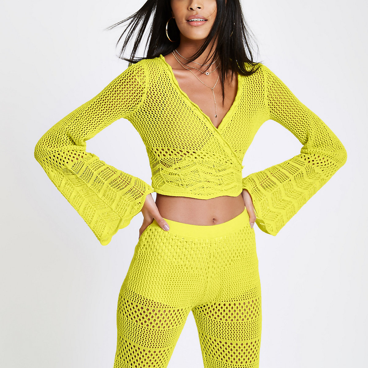 Yellow crochet knit wrap front crop top