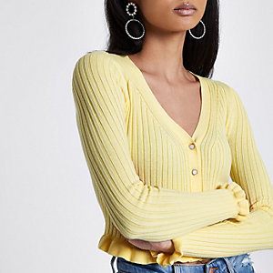 Light yellow ribbed frill cropped cardigan
