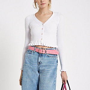 White frill knit cropped top