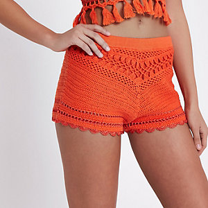 Orange crochet shorts